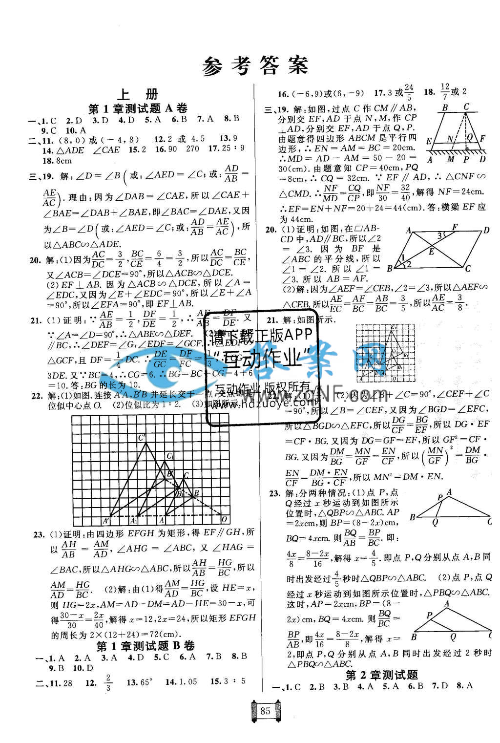 海淀单元测试ab卷九年级数学全一册青岛版答案